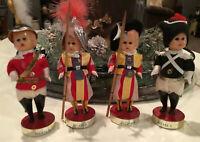 Lot 4 Vintage Vatican Roma Swiss British Guard Soldiers Celluloid Souvenir Dolls