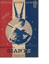 1942 New York Giants-Dodgers Program Dixie Walker 2 HRs But Giants Win GEM!!
