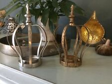 Shabby Chic Rustic Antique Gold or Silver Crown Tea Light Holder