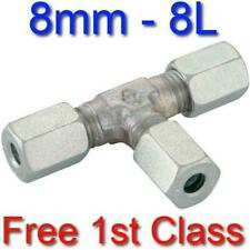 8L EQUAL TEE HYDRAULIC COMPRESSION FITTING/COUPLING TUBE PIPE JOINER 8mm