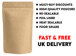 100 x KRAFT BROWN PAPER FOIL ZIP LOCK BAGS FOOD NUTS STAND UP POUCHES - 17x24CM