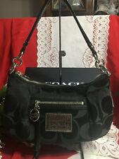 Coach Poppy Crossbody Signature  Black Fabric/Leather Hobo Bag Purse