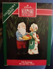 """1992 Hallmark Keepsake Ornament """"Gift Exchange"""" Mr. and Mrs. Claus"""