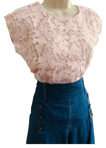 Pink Lace Top T-Shirt Size 8 Summer Cap Sleeve Broderie Ladies Blouse Holidays