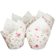 White Tulip Wraps with Floral Design x 24 Baking Muffin