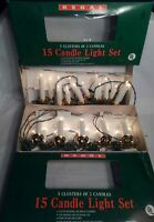 2 Strings of Vintage Christmas Lights Clip On 15 Candles 5 3 Light Clusters