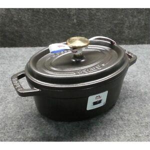 Staub 1101725 1 QT Oval Cast Iron Cocotte Oven, Black