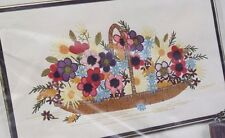 """New listing Crewel Embroidery Kit """"Just Picked"""" floral 14x24"""" Paragon complete sealed 1978"""