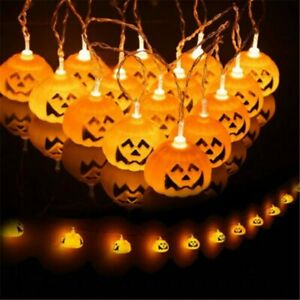 LED Curtain Pumpkin Fairy Lights In/Outdoor Party Halloween Home Decor UK