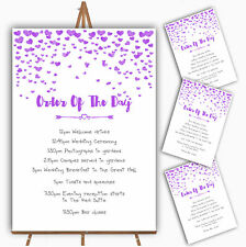 Purple Heart Confetti Personalised Wedding Order Of The Day Cards & Signs
