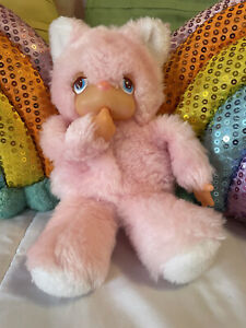 "Vintage 1977 Russ Berrie Thumb Sucker Cat ""Felicia,"" Pink, Monchhichi Style"