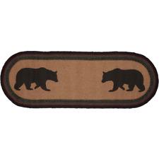 """New Cabin Lodge Red Green Black Bear Braided Rug Jute Mat Table Runner 36"""""""
