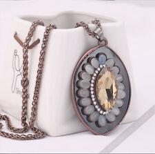 Damen Halskette Perlen AAA Zirkonia Strass Handarbeit Collier ANTIK Anhänger NEU