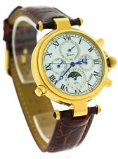 Mens Stauer Graves Automatic 11575 Moon Phase Chronograph Red Leather Band Watch