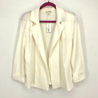 L NWT Maison Jules Women's Core Open Front 3/4 Sleeve Blazer Jacket Cream C044