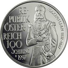 Österreich 100 Schilling Silber Maximilian von Mexiko 1997 Polierte Platte