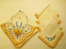 Vintage Tablecloth + 4 napkins  Embroidered 34 x 36 Square White Butterfly theme