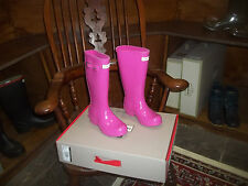 Hunter Wellies en Halifax Niños Niños Lápiz Labial Rosa Brillo Size UK 1 EU 33