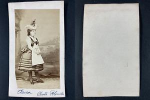 Thérésa, actrice, Blanchette dans la Chatte Blanche Vintage cdv albumen print.
