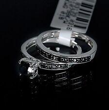 Ladies White 10K Gold Genuine Black Diamond Ring Set Duo Wedding Engagement Band