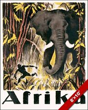VINTAGE AFRICA AFRIKA ELEPHANT VACATION TRAVEL AD POSTER ART REAL CANVAS PRINT