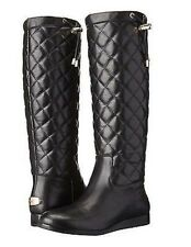 Michael Kors Lizzie Quilted Black Leather & Gold MK Logo Tall Boot New Size.5