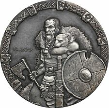 2015 Niue $2 Vikings, 2 oz Silver Ragnar Antiqued Coin - No Box or COA