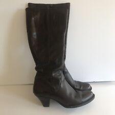 Born Navi Dark Brown Veg Leather Zip-Up Boots - 9.5M
