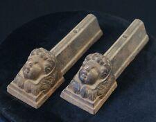 paire de chenets ancien miniature fonte tête angelot chérubin XIX ème poupée
