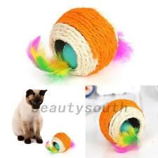 Cat Pet Colorful Sisal Rope Chase Feather Ball Kitten Play Scratch Rattle Toy