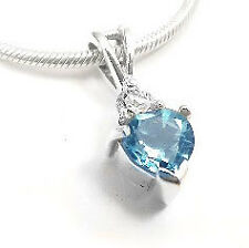 """Sterling Silver Blue Topaz Heart and White CZ Pendant and 16"""" Chain Necklace"""