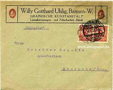 Lettera Società MEF inaspri fa. Uhlig Barmen Wuppertal a Gebr. Schulte Meschede 1923