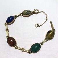 Vintage Scarab Bracelet WRE 1/20 12 K Gold Filled Multi Color Carved Gemstones