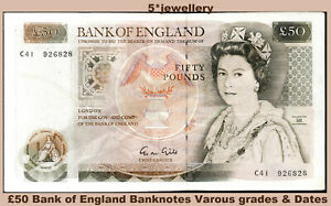 Real bank of england money currency fifty £50 pound banknotes 1981 1988