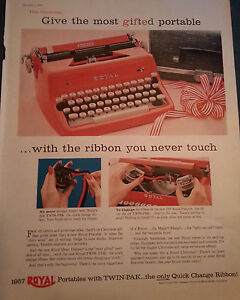 1956 Red Royal Typewriter with Ribbon You Never Touch Original Print Ad