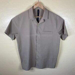 Lululemon Button Up Shirt Mens XL Tan Short Sleeve Athletic Performance
