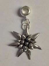 Small Edelweiss with 5mm Hole to fit Pendant Charm Bracelet European refC21