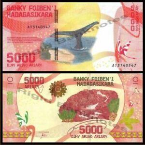 Madagascar Banknote 5000 Ariary 2017 (UNC) 全新 马达加斯 5000阿利亚里 2017年