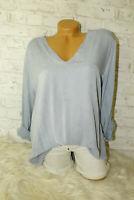 Italy Oversized Shirt Gr. 36 38 40 42 Vintage Sweat Jeans blau Bluse blogger NEU