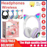 Wireless Cat Kid Ear Headphones LED Light Bluetooth Earphone Headset Xmas Gift #