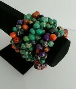 3x Beaded Bracelet Stacking Arty Chunky Statement Bangles Lagenlook Boho Wooden
