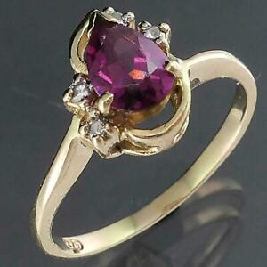 Sculptural Solid 9k Yellow GOLD PEAR TOURMALINE & 4 Diamond CLUSTER RING Sz O1/2