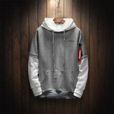 Men's Hoodies  Streetwear Patchwork Pullover Hip Hop Long Sleeves Top M-5XL