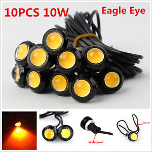 10Pcs Eagle Eye COB Amber LED Car Daytime Running DRL Tail/Head Light Waterproof