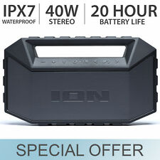 ION Audio Plunge MAX Waterproof Portable Bluetooth Stereo Speaker Boombox ISP83
