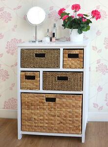 Large White Basket Storage Unit,Wicker Drawers,Hallway, Kitchen,Bathroom storage