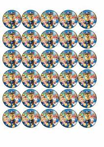 30 x CupCake Edible Birthday Cake Topper Edible Rice Paper Paw Patrol