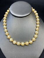 Ladies Vintage 1950's Creamy Tan Moon Glow  Beaded Necklace 16""