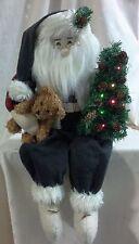 "New Shelf Sitter Santa, Lit Tree, Teddy Bear, Sherpa Vest, Plaid Shirt 26"" Long"