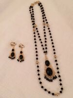 Vintage Mid Century Gold-tone Black Bead Pendant Necklace Clip On Earring Set